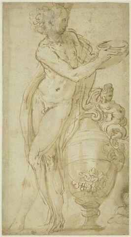 Bacchus debout, appuyé sur un grand vase