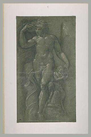 Statue de Bacchus debout, avec un jeune satyre à sa gauche