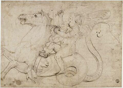 Un Amour assis sur un cheval marin