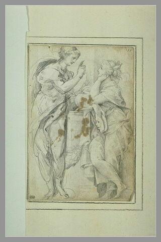 Deux Muses conversant : Thalie et Melpomène ?