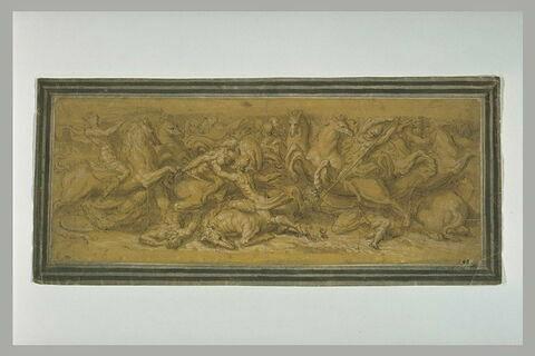 Combat de cavalerie, étude d'après un bas-relief antique