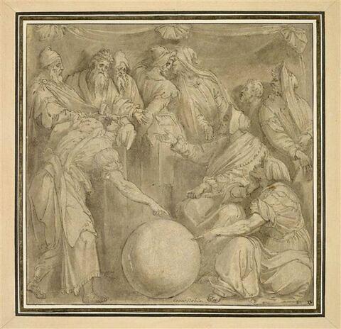 Figures de philosophes autour d'un globe terrestre