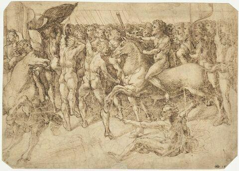 Marche d'une armée : les soldats entièrement nus