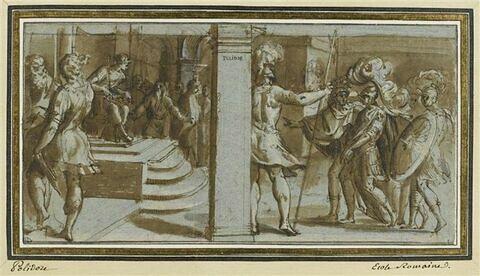 Scène d'histoire antique : un général captif conduit devant un roi