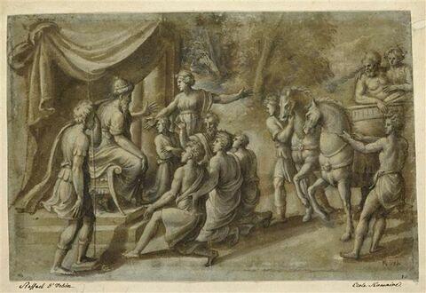 Personnages prosternés aux pieds d'un empereur