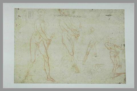 Quatre études de figures nues, semblant dégainer ou tenir un bâton