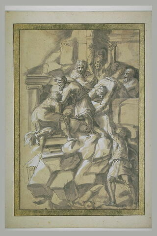 Hommes vêtus à l'antique cherchant à fuir un palais qui s'écroule