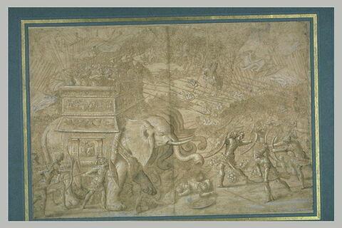 Soldats romains portés par quatre éléphants combattant une armée