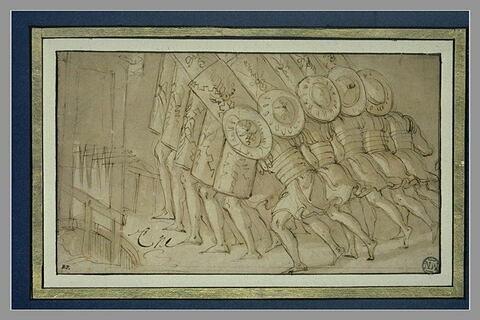 Groupe de soldats se couvrant de leur bouclier