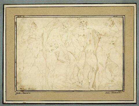 Guerriers nus (Hercules ?) marchant sur le corps de leurs ennemis vaincus