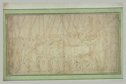 Triomphateur revêtu d'une toge romaine dans un char
