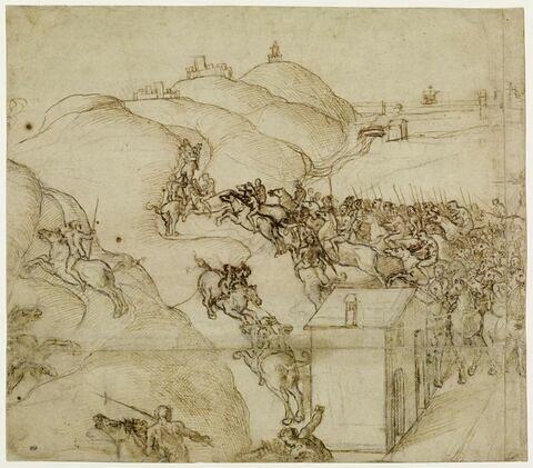 Combat de cavalerie dans un paysage