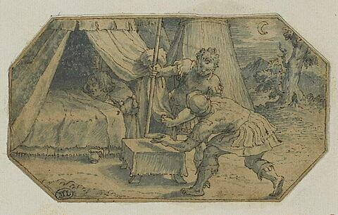 Deux guerriers auprès d'une tente où est alité un homme