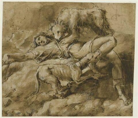 Jeune homme à terre dévoré par un ours (un garçon, après s'être moqué du prophète Elisée (?) et avoir été maudit par lui, est dévoré par un ours ou une ourse ?)