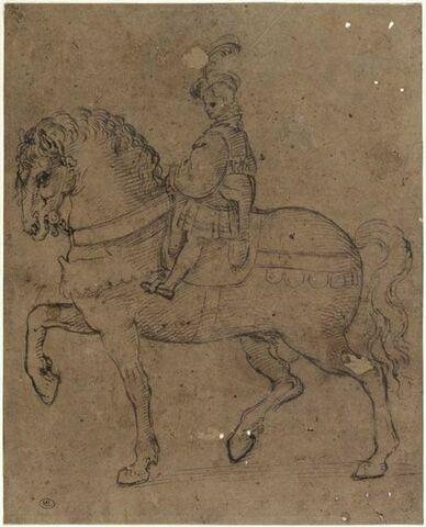 Enfant à  cheval, allant vers la gauche