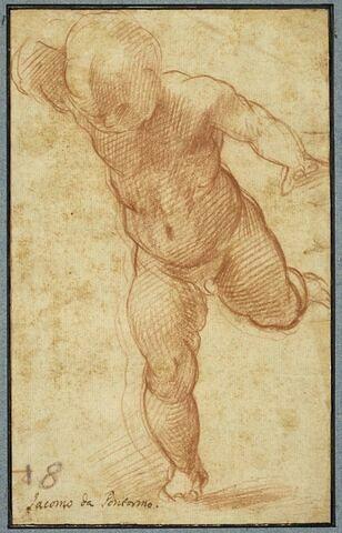 Enfant nu, courant, les bras ouverts : un ange (?)
