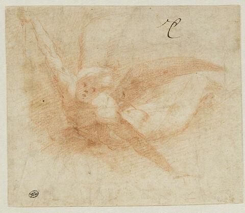 Ange volant, vu de face, les bras ouverts, tenant une épée