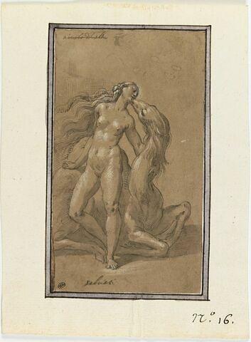 Une femme nue debout embrassant un quadrupède inconnu