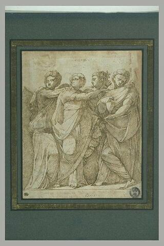 Quatre figures de femmes debout, drapées, s'appuyant les unes sur les autres