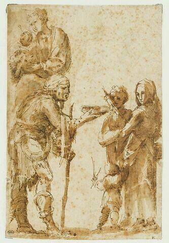 Mendiant devant des paysannes ; la Vierge à l'Enfant, vue à mi corps