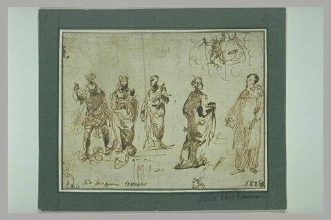 Etude de dix figures dont saint Paul, et la Vierge à l'Enfant