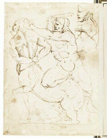 Combat d'un gladiateur et d'un centaure ; reprise du buste du gladiateur