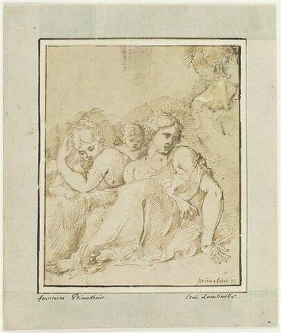 Deux femmes assises et deux enfants et un fragment de tête