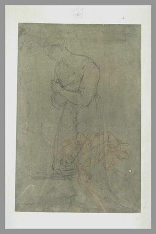 Femme agenouillée, tournée vers la gauche : la Vierge (?) ; Ange volant