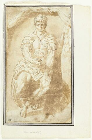 Astolphe, roi de Grande-Bretagne assis