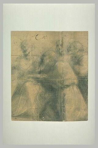 Quatre figures tournées vers la droite
