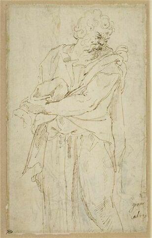 Homme debout, drapé, tenant un objet dans ses mains