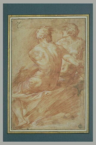 Deux hommes nus, assis
