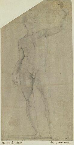 Homme nu, debout, le bras gauche levé