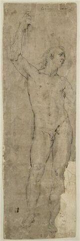 Homme nu, debout, le bras droit levé