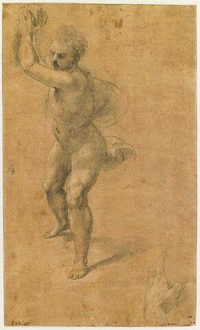 Homme à demi drapé, debout, lançant une pierre; main gauche tenant un objet