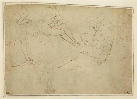 Guerrier ; femme nue, assise ; figure s'appuyant sur un baton ; homme drapé