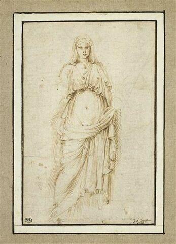 Femme debout, drapée, sans bras, vue de face