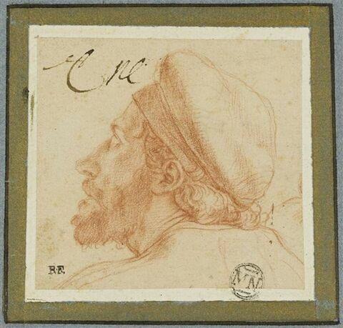 Tête d'homme coiffé d'un bonnet, de profil vers la gauche