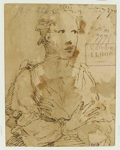 Femme vue en buste, les bras croisés sur la poitrine