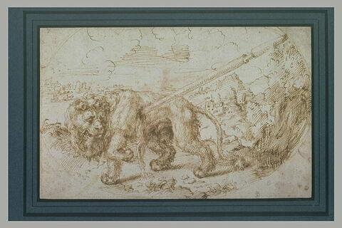 Un lion dans un paysage, mourant, blessé par un javelot
