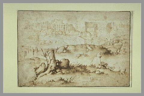 Vue de Rome, avec un personnage assis dessinant