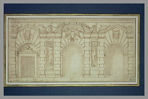 Etude d'une façade de palais, avec les armoiries d'Autriche