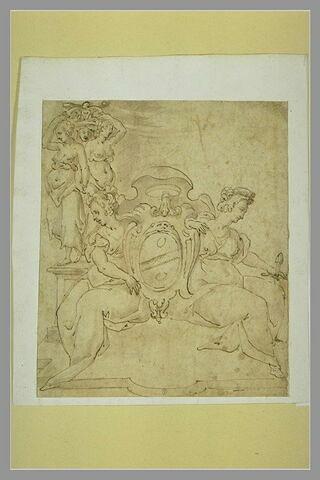 Deux femmes assises encadrant un écu avec des armoiries