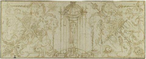 Grotesques avec Apollon (?) et, de part et d'autre, Cybèle et Mercure