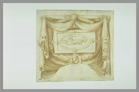 Cartouche en forme de draperie, avec des guirlandes ornées de mascarons : signe du Capricorne