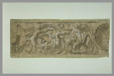 Détail d'une frise avec deux angelots jouant avec un cygne et un lion