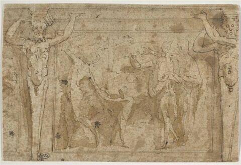 Scène mythologique dans un panneau encadré de deux termes en cariatides