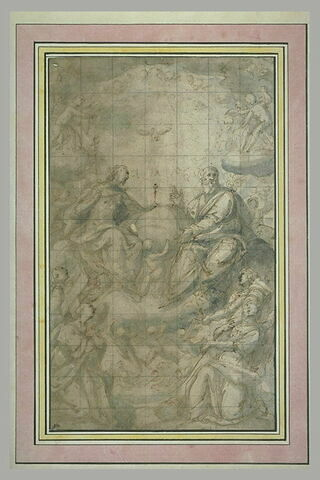 La Sainte Trinité en gloire, adorée par des anges