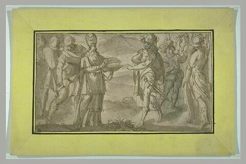 Melchisédech offrant le pain et le vin à Abraham