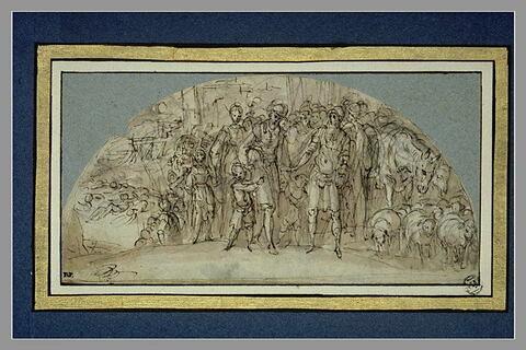 Abraham ramène Loth délivré, avec sa femme, ses enfants, son troupeau